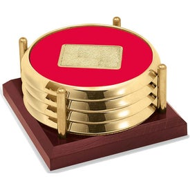 Four Coasters with Solid Cherry Tray for Promotion