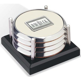 Four Coasters with Black Acrylic Tray for Customization