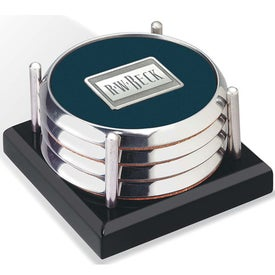 Four Coasters with Black Acrylic Tray for Promotion
