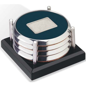 Monogrammed Four Coasters with Black Acrylic Tray