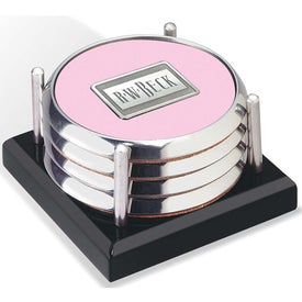 Imprinted Four Coasters with Black Acrylic Tray