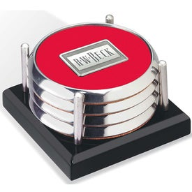 Four Coasters with Black Acrylic Tray Printed with Your Logo