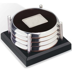 Branded Four Coasters with Black Acrylic Tray