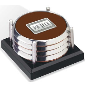 Four Coasters with Black Acrylic Tray with Your Slogan