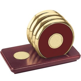 Four Coasters with Solid Cherry Stand for your School