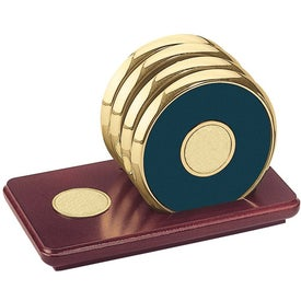 Four Coasters with Solid Cherry Stand for Customization
