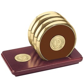 Four Coasters with Solid Cherry Stand for Your Organization