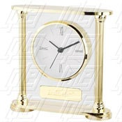 Gold Clock With Glass Accent