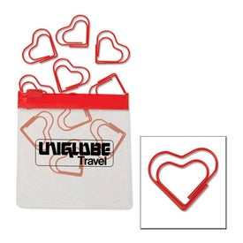 Heart Paper Clips in Clear Pouch with Color Trim