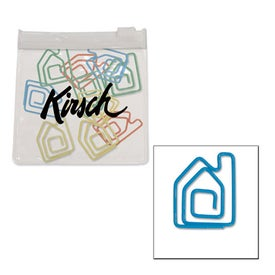 House Paper Clips in Clear Pouch with Color Trim