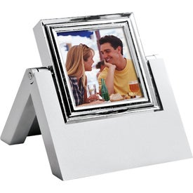Monogrammed In-Line Rotating Silver Clock and Photo Frame