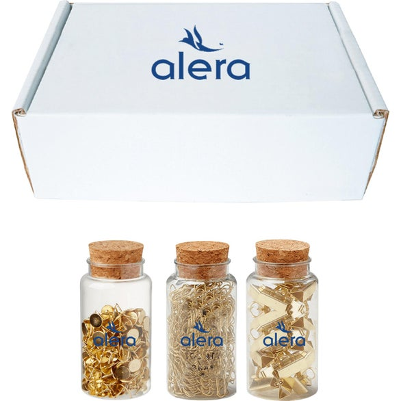 White / Gold Jarred Office Supply Gift Box