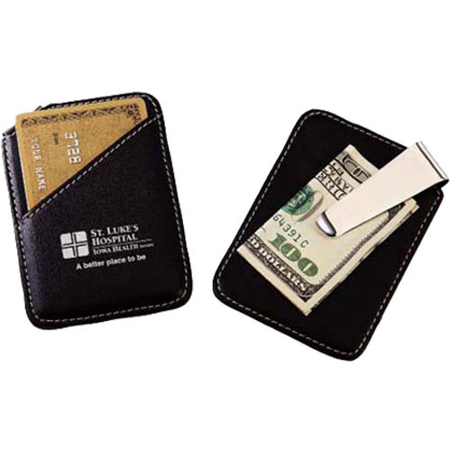 Leather and Chrome Money Clip and Card Holder