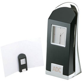 Lespace Black and Silver Clock and Memo Holder