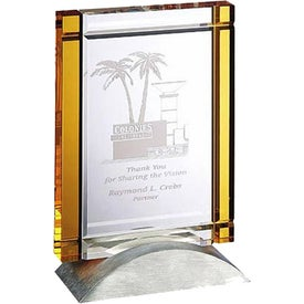 Optica yellow Tablet Award with Metal Base