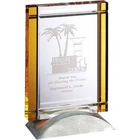 Optica yellow Tablet Award with Metal Base