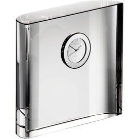 Imprinted Orrefors Vision Square Desk Clock