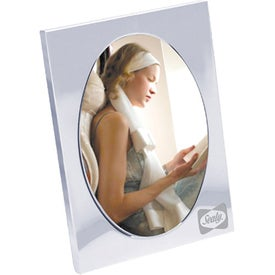 Oval Chrome Metal Picture Frame Imprinted with Your Logo