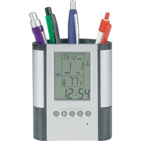 Imprinted Pen Cup with Digital Alarm Clock and Thermometer