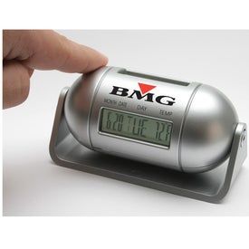 Imprinted Pill Shaped Multi Function LCD Alarm Clock