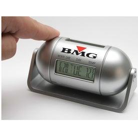 Imprinted Pill Shaped Multi Function LCD Alarm Clock