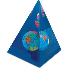 Branded Pyramid Globe Paperweight