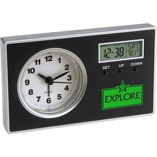 promotional quartz analog alarm clock with secondary digital displays with custom logo for ea. Black Bedroom Furniture Sets. Home Design Ideas