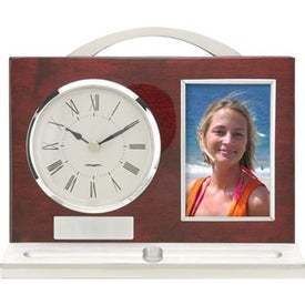 Logo Quercia II Wood and Aluminum Clock Pen and Photo Frame