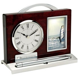Quercia II Wood and Aluminum Clock Pen and Photo Frame
