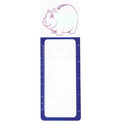 Clear with Blue Border Reader's Pal Bookmark Ruler Magnifier