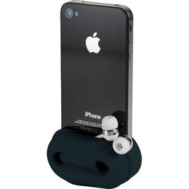 Logo Rockz Amplifier and Earbud Wrap Phone Stand