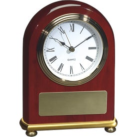 Rosewood Arch Clock Imprinted with Your Logo