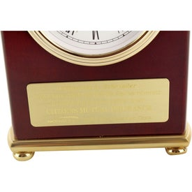 Rosewood Arch Clock with Your Slogan