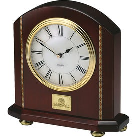 Rosewood Inlaid Mantle Clock with Your Logo