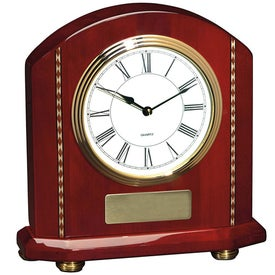 Branded Rosewood Inlaid Mantle Clock
