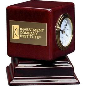 Imprinted Rosewood Swivel Clock