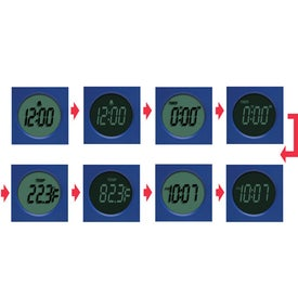 Rotating 4-In-1 LCD Alarm Clock With Electroluminescent Printed with Your Logo