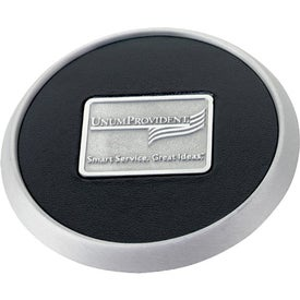 Monogrammed Round Brushed Zinc Coaster Weight Coaster
