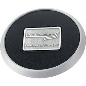 Monogrammed Round Brushed Zinc Coaster Weight Coaster
