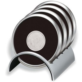 "Round Stainless/Polymeric Rubber Coaster Set (3.5"" x 4.25"" x 3.75"")"