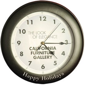 Branded Round Wood Clock