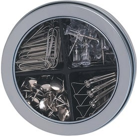 Imprinted Deluxe Round Tin with Assortment of Clips / Pins