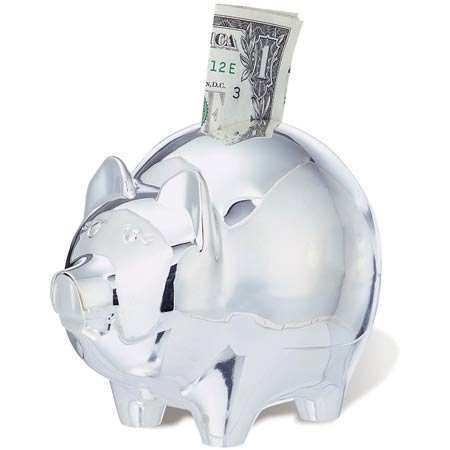 Silver plated piggy bank printed with your logo - Engraved silver piggy bank ...