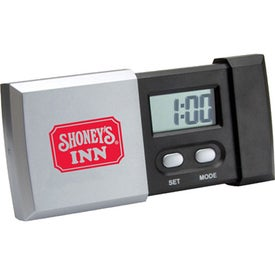 Logo Sliding Digital LCD Travel Alarm Clock