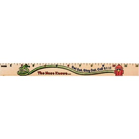"Sports Out ""U"" Color Rulers - Natural Wood Finish Imprinted with Your Logo"