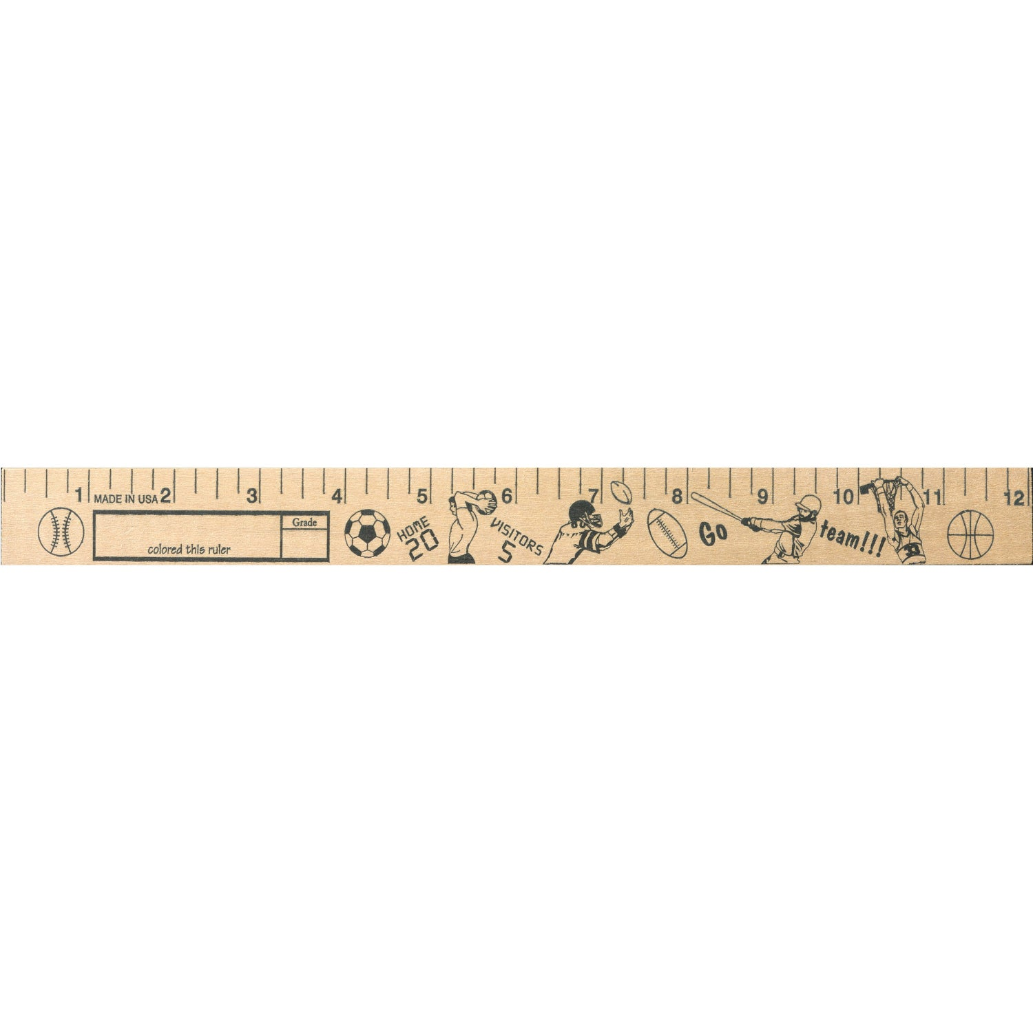 "Sports Out ""U"" Color Rulers - Natural Wood Finish"