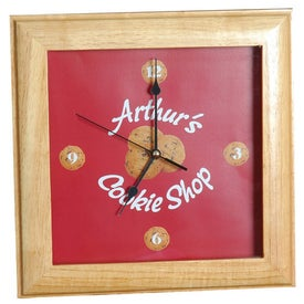 Square Wood Clock for Marketing