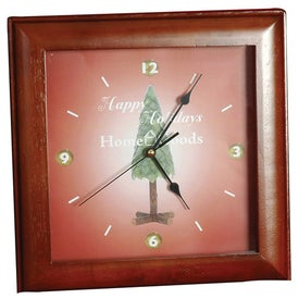 Square Wood Clock with Your Logo