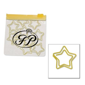 Star Paper Clips in Clear Pouch with Color Trim