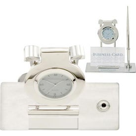 Customized Struttura I Swinging Clock and Pen Stand with Business Card